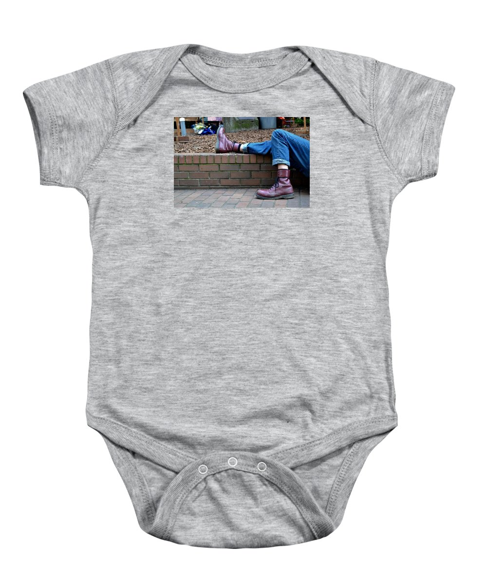 Boot Baby Onesie featuring the photograph Tired Boots by Anna Lucas