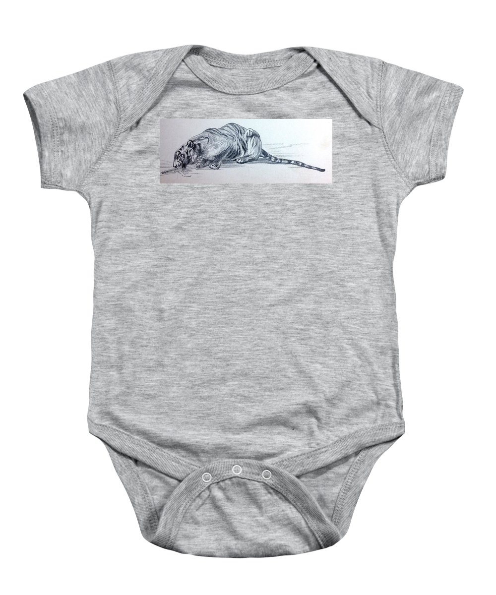 Photo Baby Onesie featuring the drawing Tirger by Lord Frederick Lyle Morris - Disabled Veteran