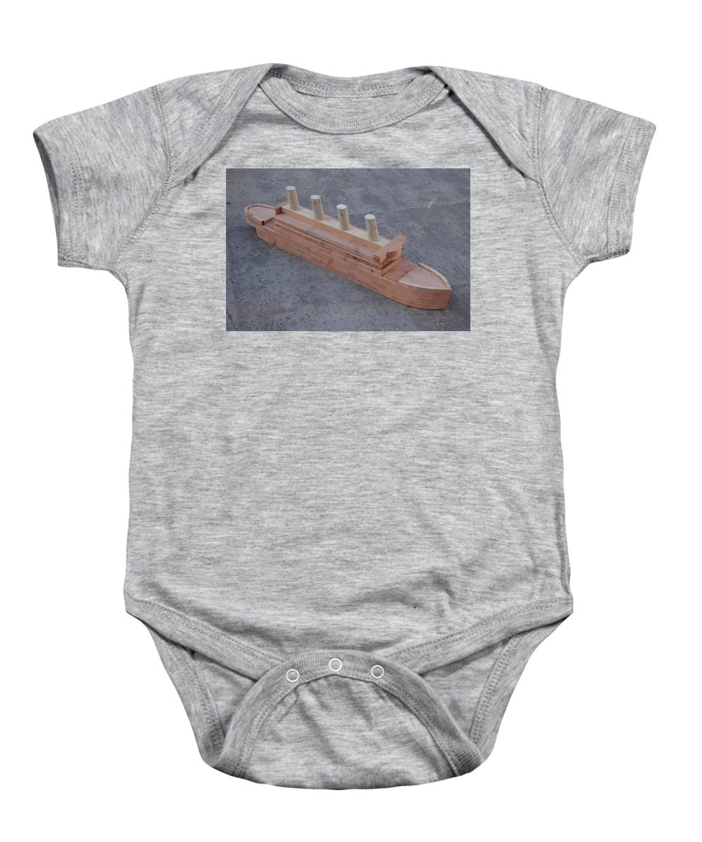 Titanic Baby Onesie featuring the sculpture Titanic- The Beauty by Reiner Poser