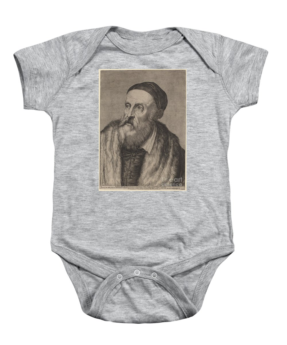 Baby Onesie featuring the drawing Titian by Agostino Carracci After Titian