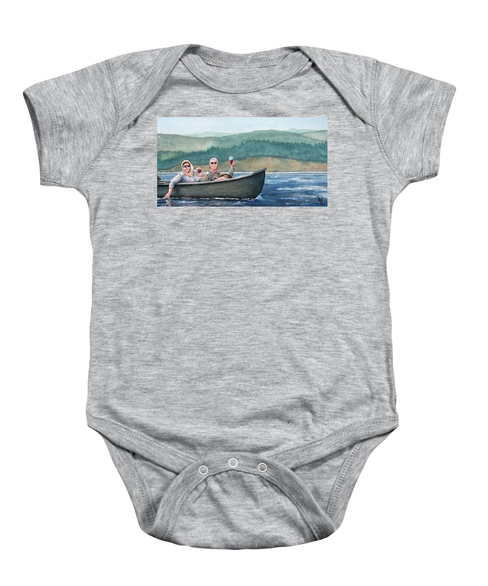 Canoe Baby Onesie featuring the painting To Life by Gale Cochran-Smith