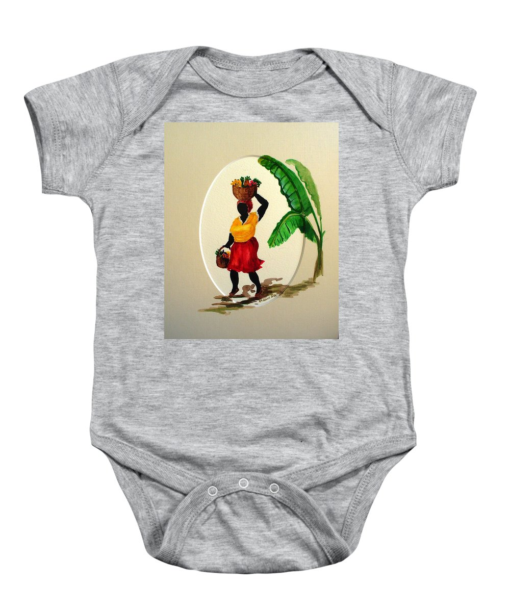 Caribbean Market Womanfruit & Veg Baby Onesie featuring the painting To Market by Karin Dawn Kelshall- Best
