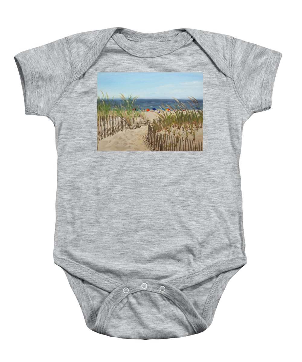 Beach Baby Onesie featuring the painting To The Beach by Lea Novak