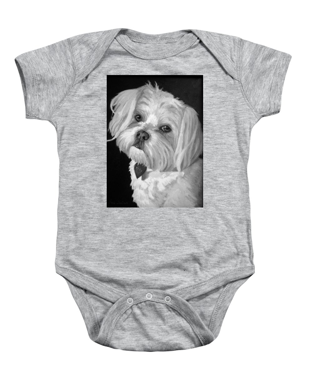 Dogs Baby Onesie featuring the painting Toby by Portraits By NC