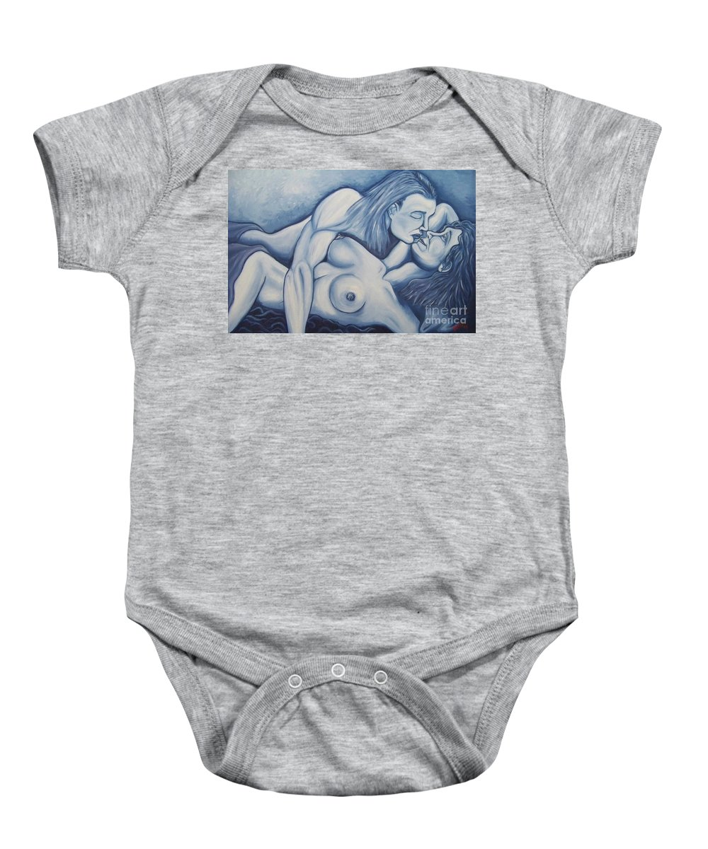 Michael Baby Onesie featuring the painting Together by Michael TMAD Finney