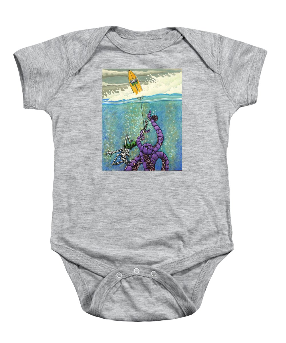 Day Of The Dead Baby Onesie featuring the painting Tombstone by Jacob Medina
