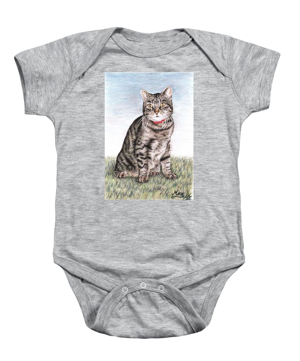 Cat Baby Onesie featuring the drawing Tomcat Max by Nicole Zeug
