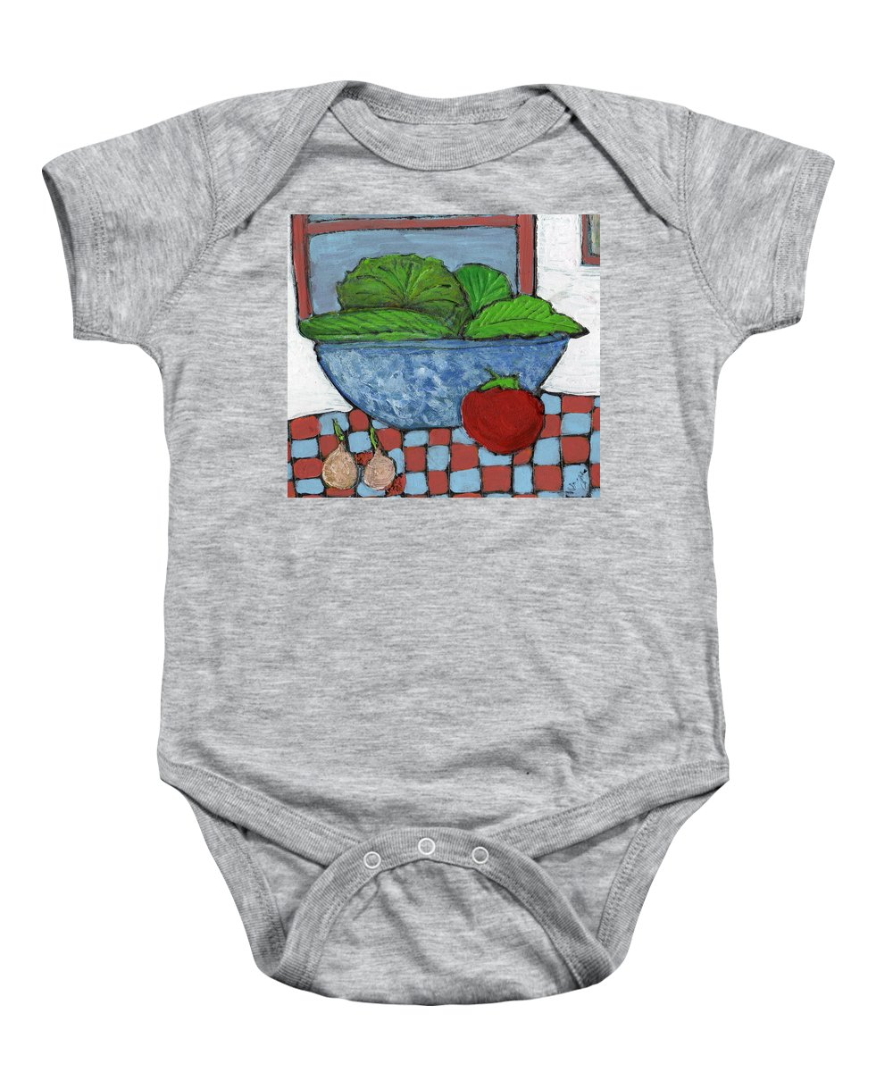 Food Baby Onesie featuring the painting Tonight's Salad by Wayne Potrafka
