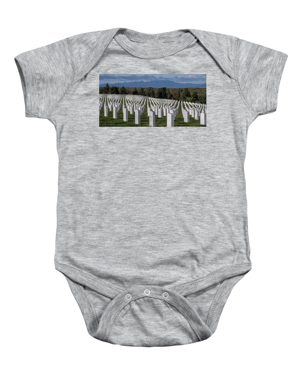 Adobe Home Baby Onesie featuring the photograph Too Many.. Veteran Cemetery, Santa Fe by Jack Zievis