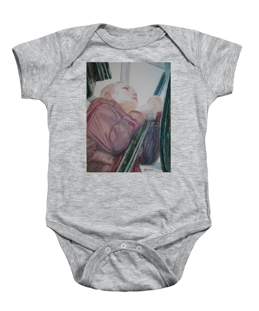Boy Baby Onesie featuring the painting Top Of The Lighthouse Stairs by Jenny Armitage