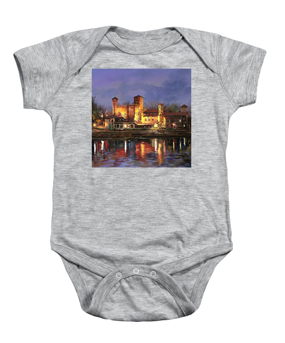 Castle Baby Onesie featuring the painting Torino-il Borgo Medioevale Di Notte by Guido Borelli