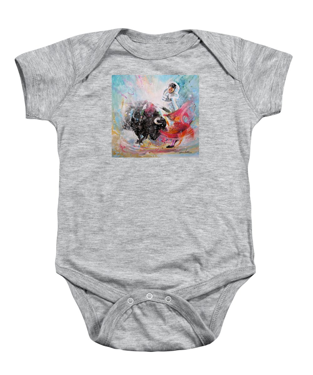 Animals Baby Onesie featuring the painting Toro Tempest by Miki De Goodaboom