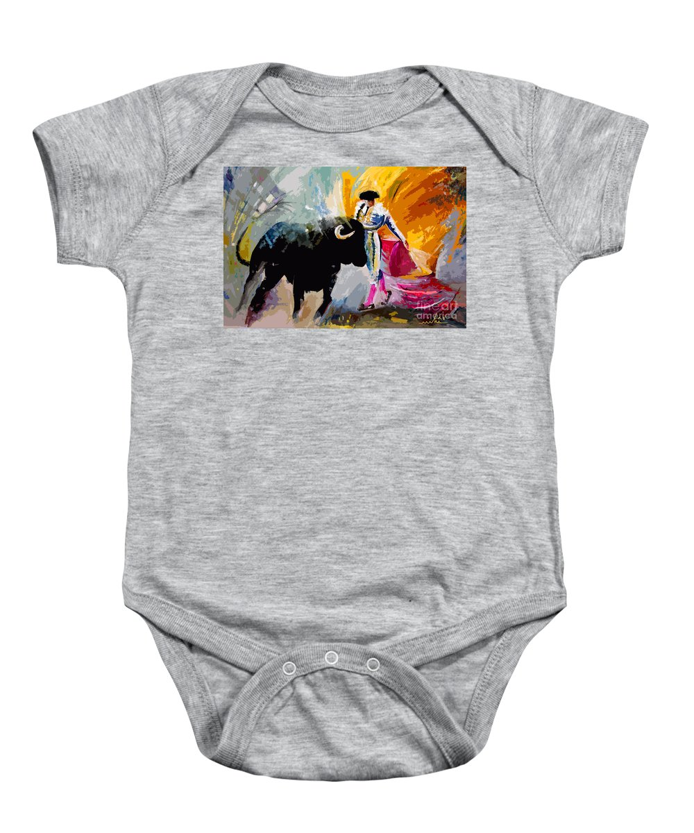 Toros Baby Onesie featuring the mixed media Toroscape 03 by Miki De Goodaboom