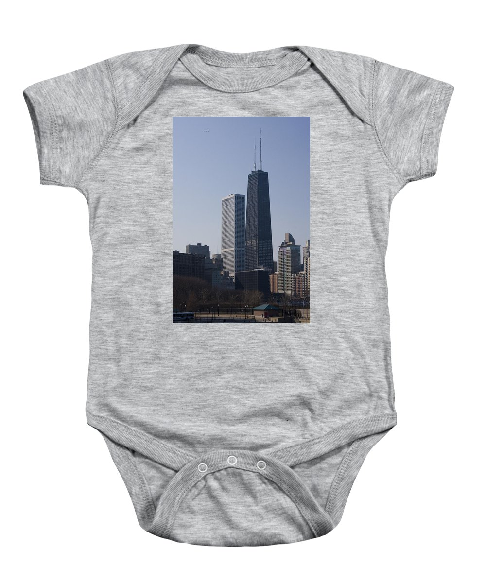 Chicago Windy City Skyscraper Building High Tall Big Blue Sky Urban Metro Baby Onesie featuring the photograph Touching The Sky by Andrei Shliakhau