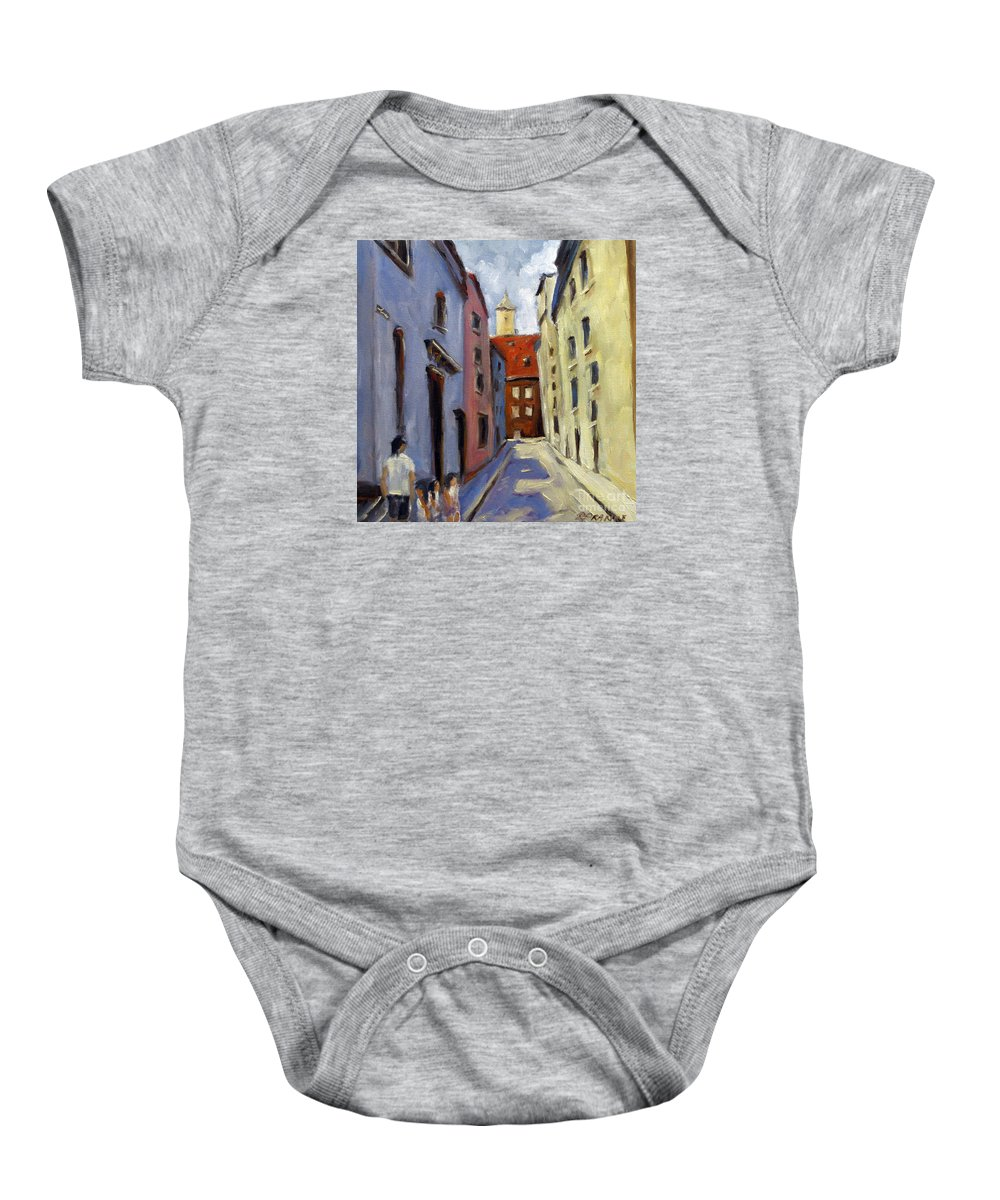 Urban Baby Onesie featuring the painting Tour Of The Old Town by Richard T Pranke