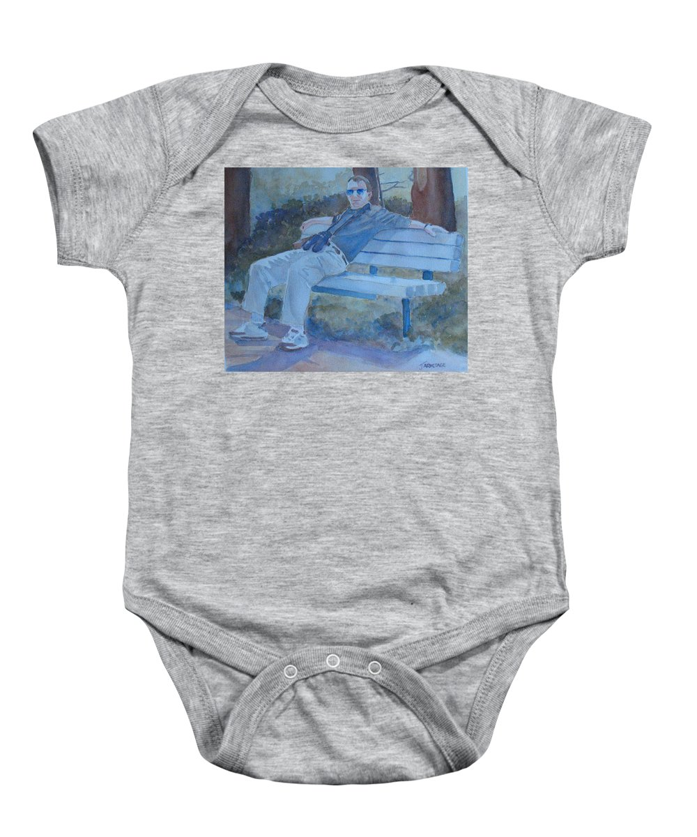 Tourists Baby Onesie featuring the painting Tourist At Rest by Jenny Armitage