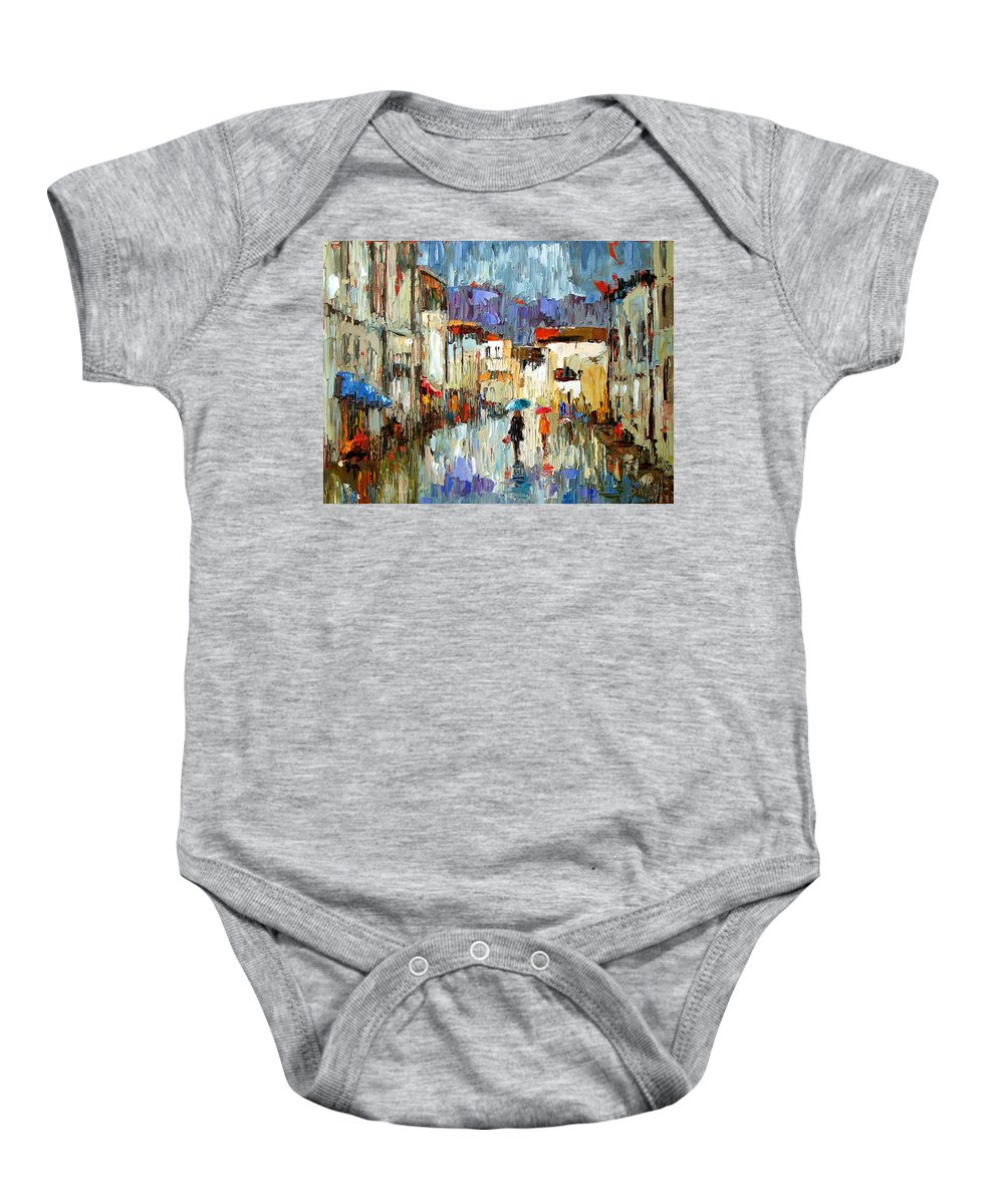 Landscape Baby Onesie featuring the painting Tourists by Debra Hurd