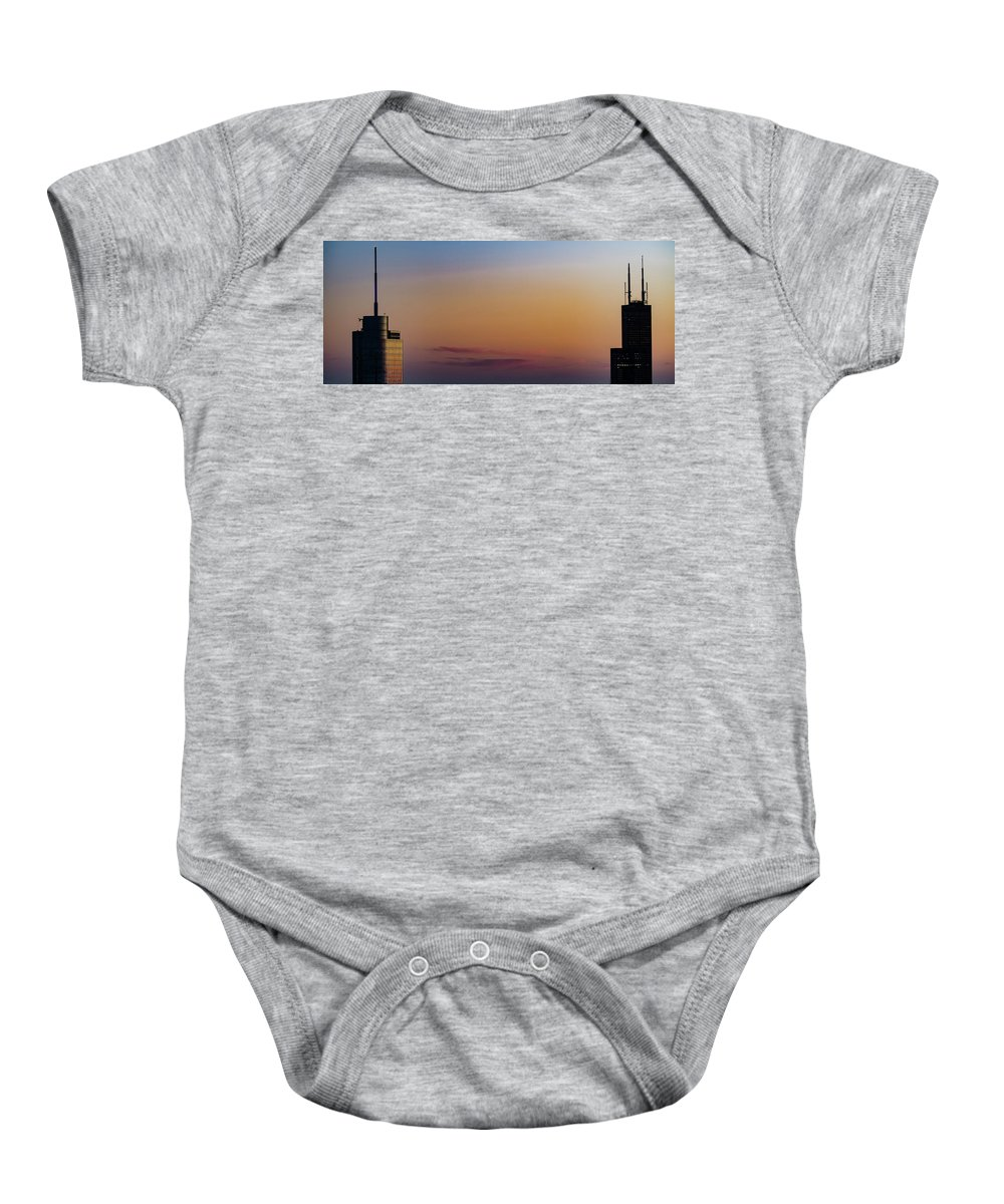 Chicago Baby Onesie featuring the photograph Tower Tops by David Berg