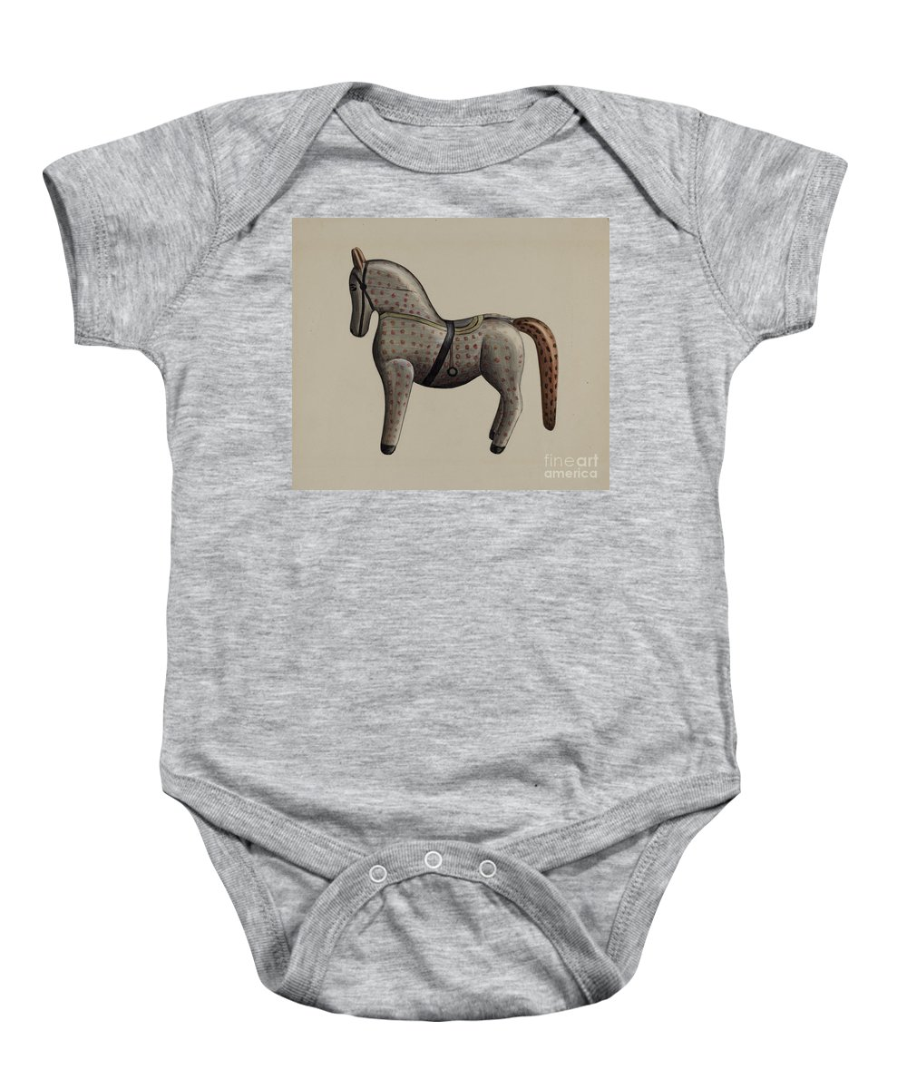 Baby Onesie featuring the drawing Toy Horse by American 20th Century