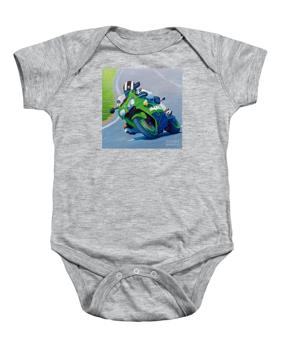 Motorcycle Baby Onesie featuring the painting Track Day - Kawasaki Zx9 by Brian Commerford