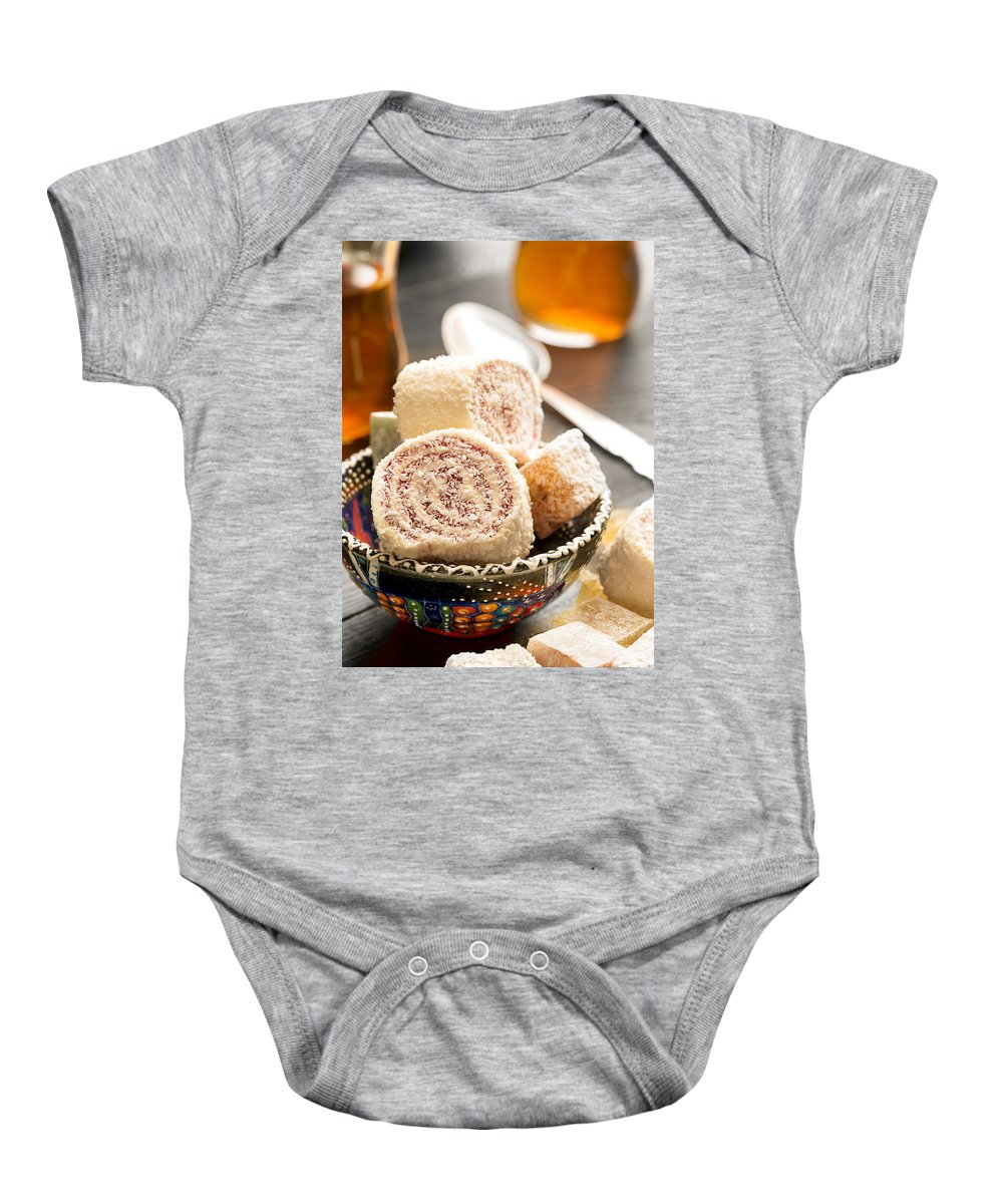 Vadim Goodwill Baby Onesie featuring the photograph Traditional Turkish Sweets by Vadim Goodwill