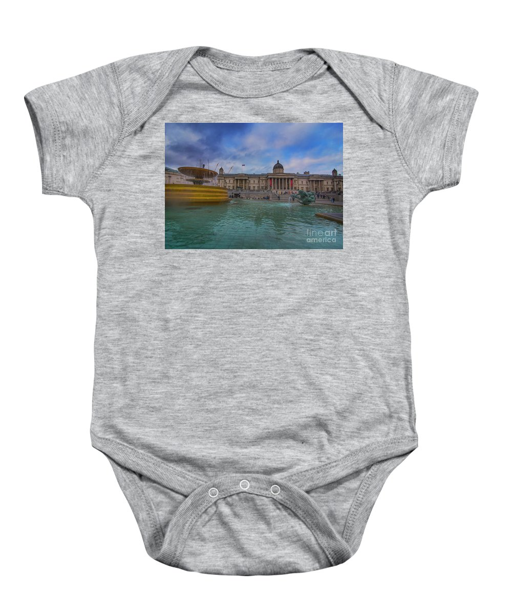 National Gallery London Baby Onesie featuring the photograph Trafalgar Square Fountain London 12 by Alex Art and Photo