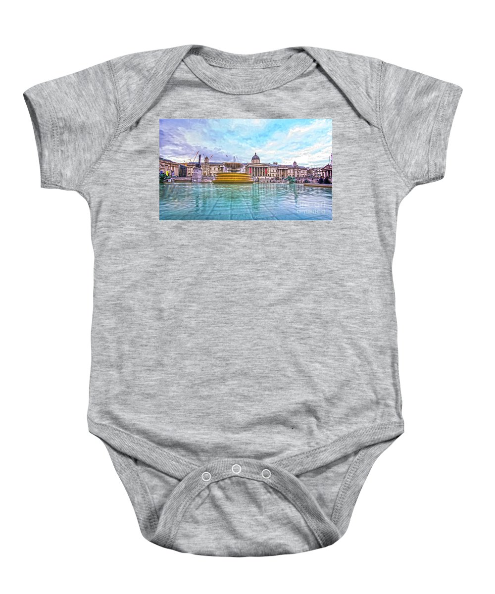 Street Artist Baby Onesie featuring the photograph Trafalgar Square Fountain London 8 by Alex Art and Photo