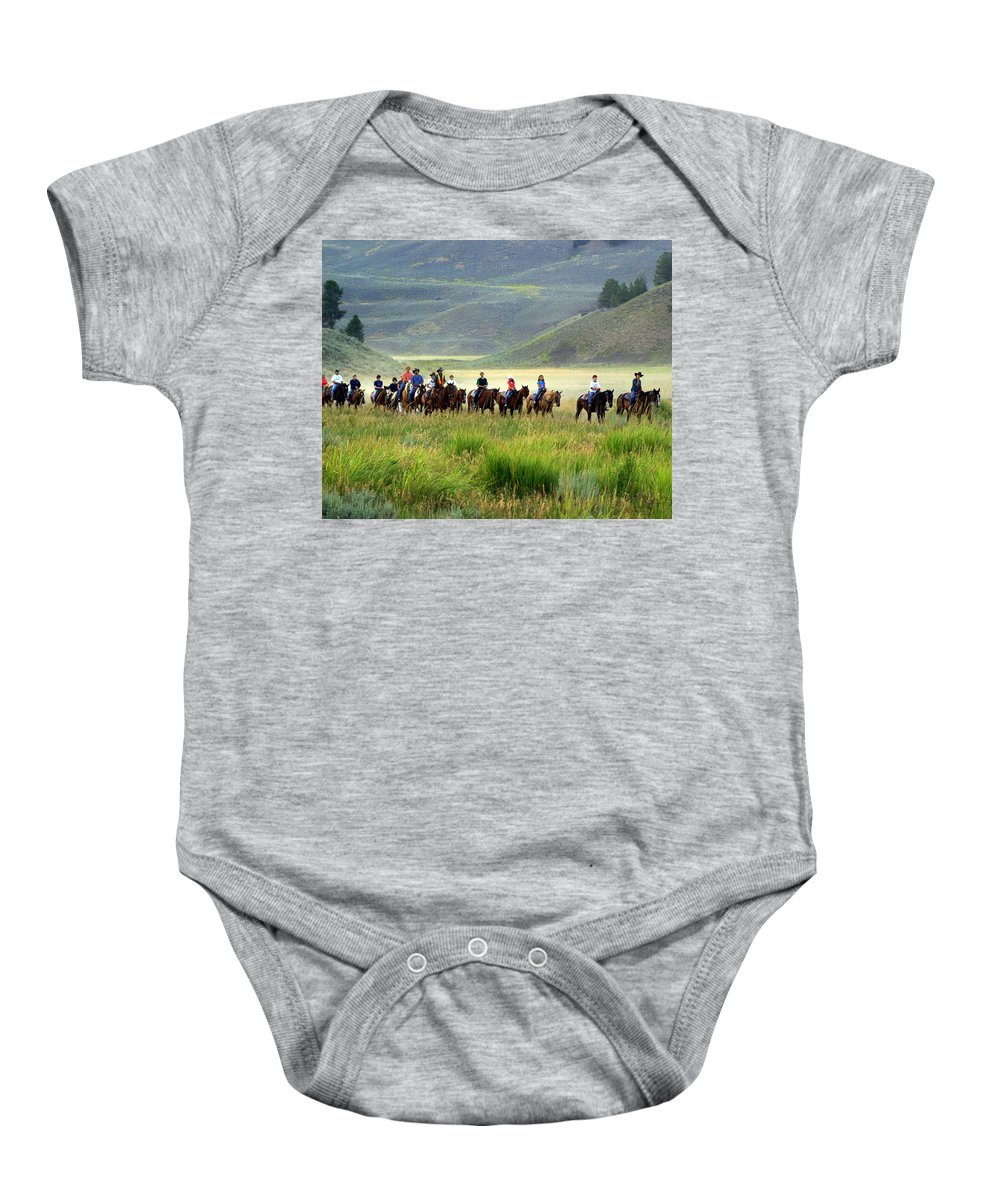 Trail Ride Baby Onesie featuring the photograph Trail Ride by Marty Koch