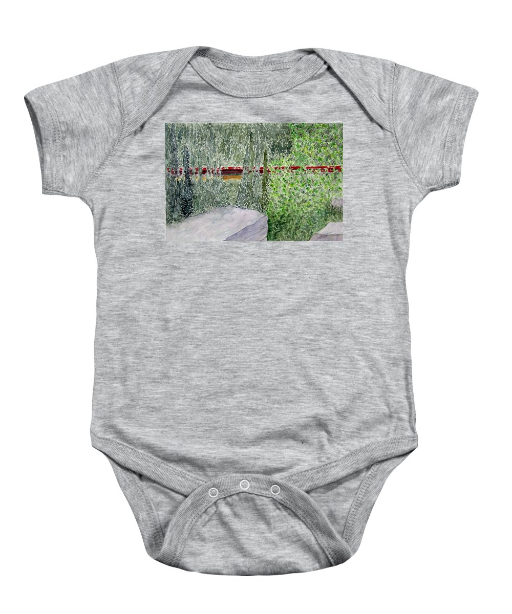 Train Art Baby Onesie featuring the painting Train Spotting by Larry Wright