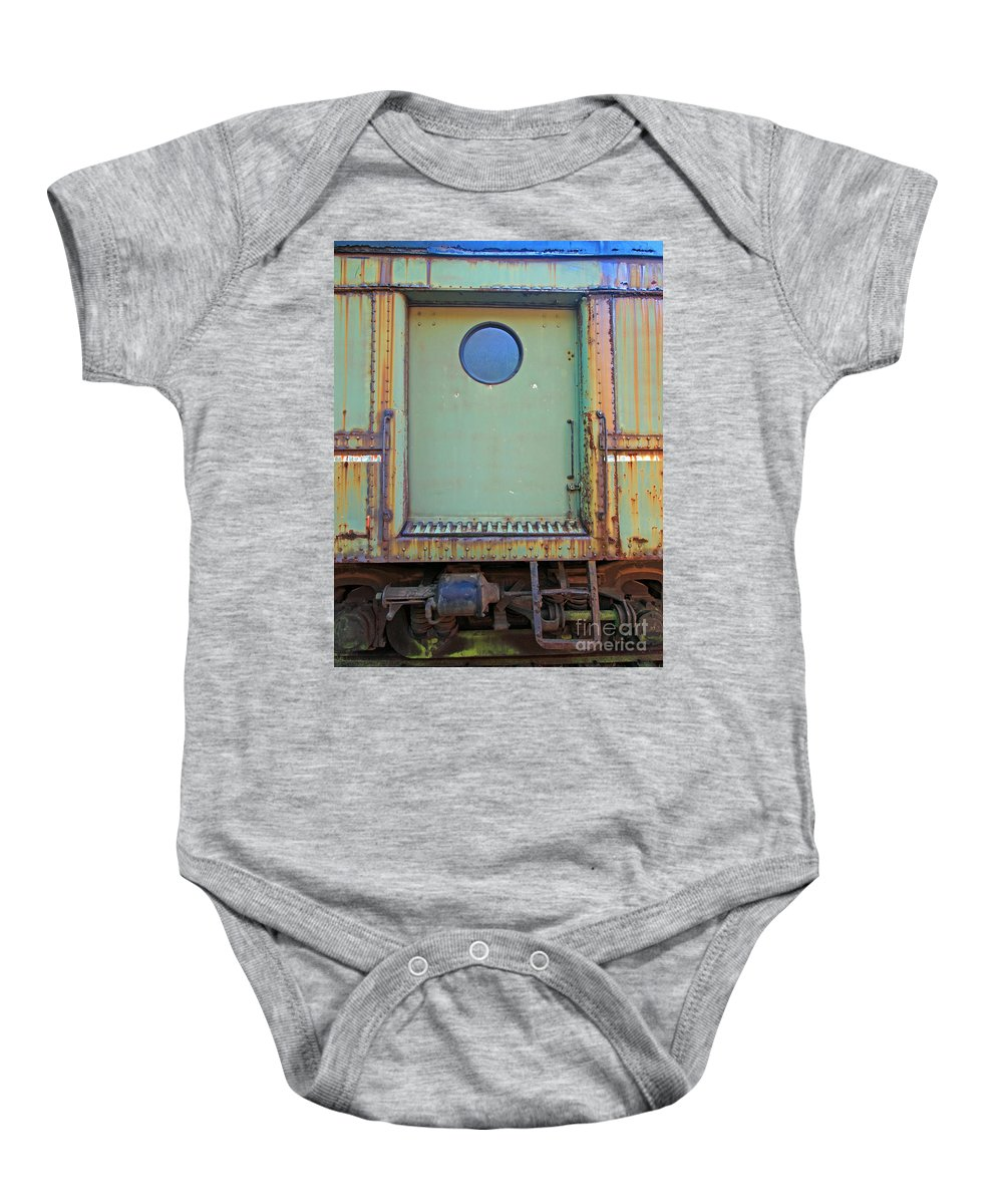 Train Baby Onesie featuring the photograph Trainyard 9 by Steve Gass