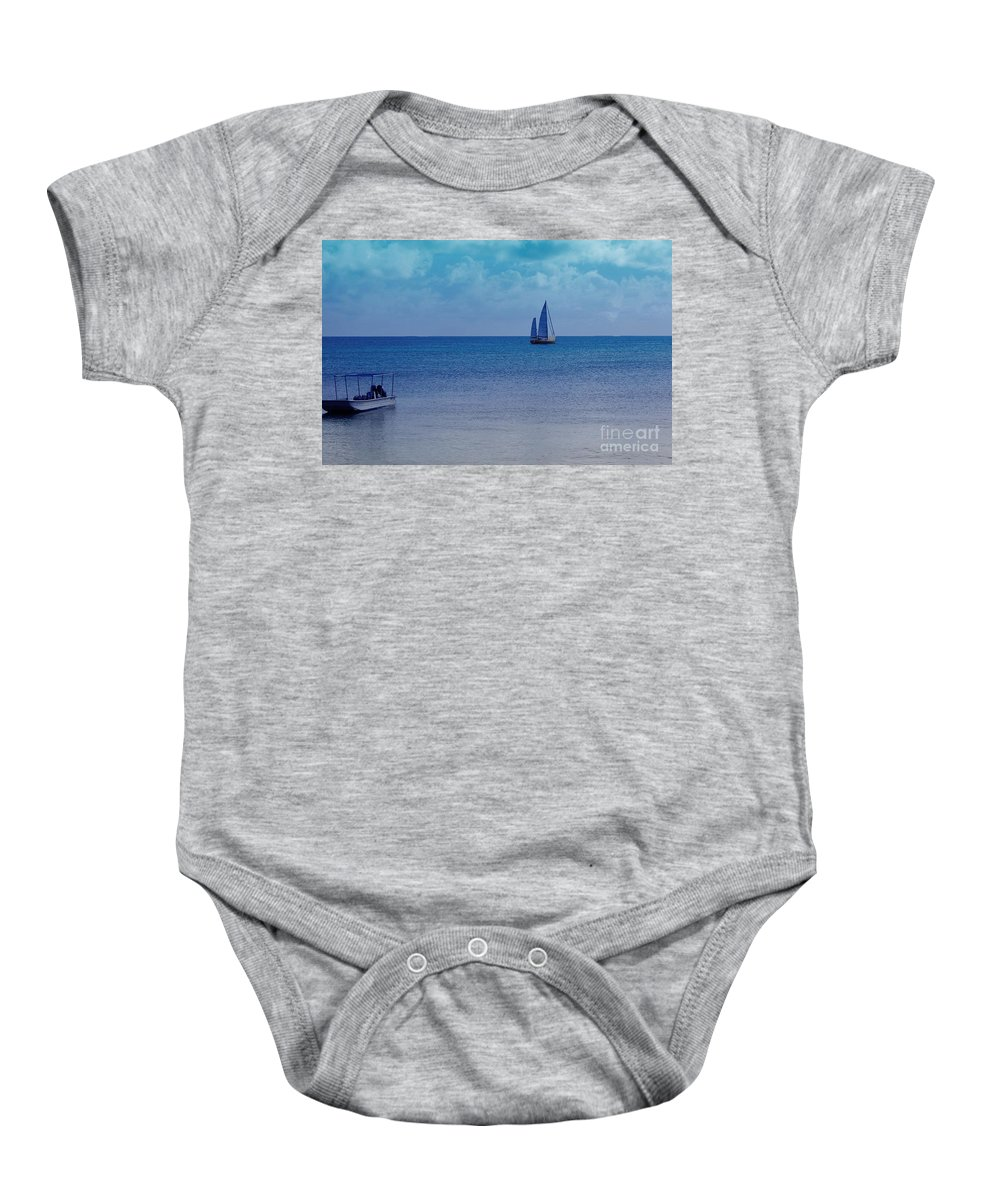 Water Baby Onesie featuring the photograph Tranquil Blue by Debbi Granruth