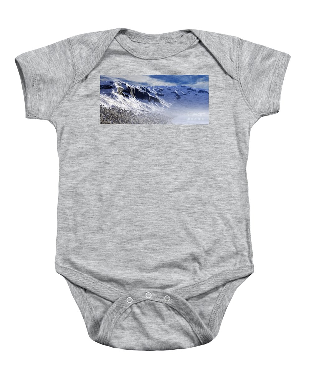 Mountains Baby Onesie featuring the digital art Tranquility by Richard Rizzo