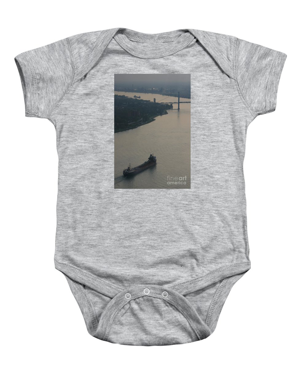 Detroit Baby Onesie featuring the photograph Transport On The Waterway by Linda Shafer