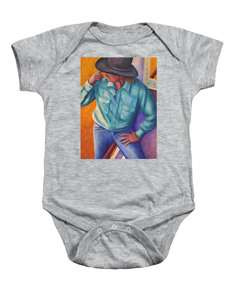 Cowboy Baby Onesie featuring the painting Travelin Man by Shannon Grissom