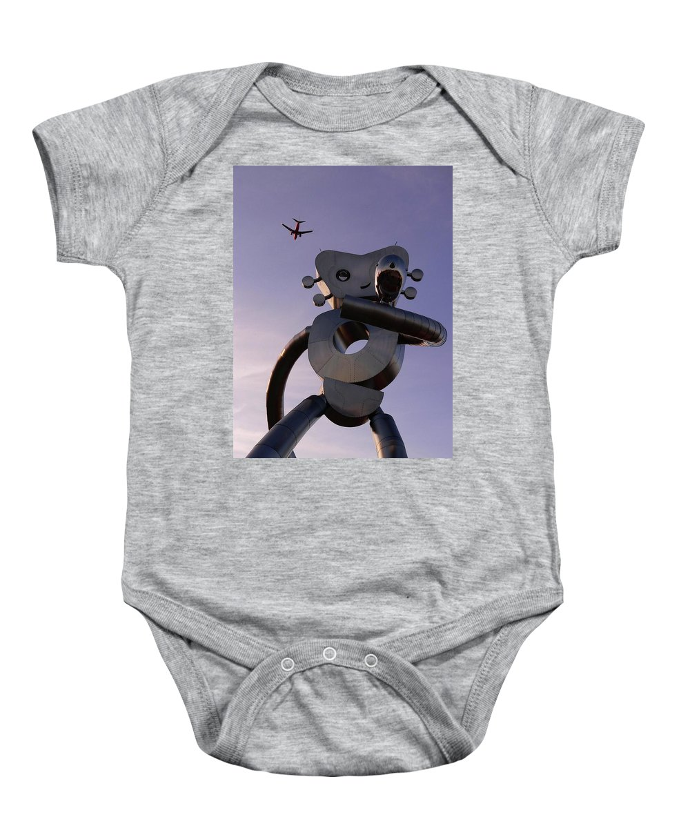 Metal Baby Onesie featuring the photograph Travelling Man by Angela Wright