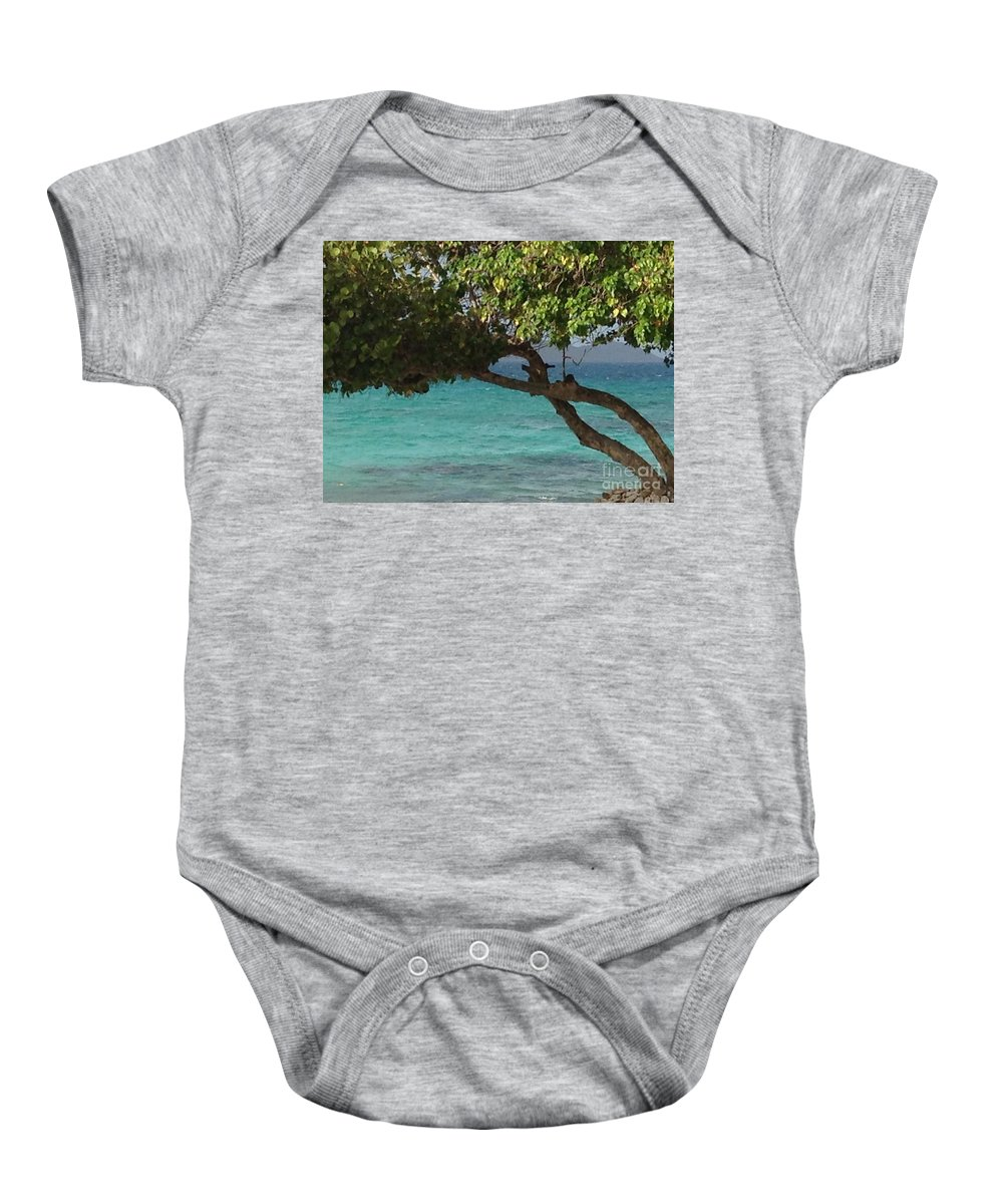 St. Thomas Baby Onesie featuring the photograph Tree Over Sapphire Beach by Gina Sullivan