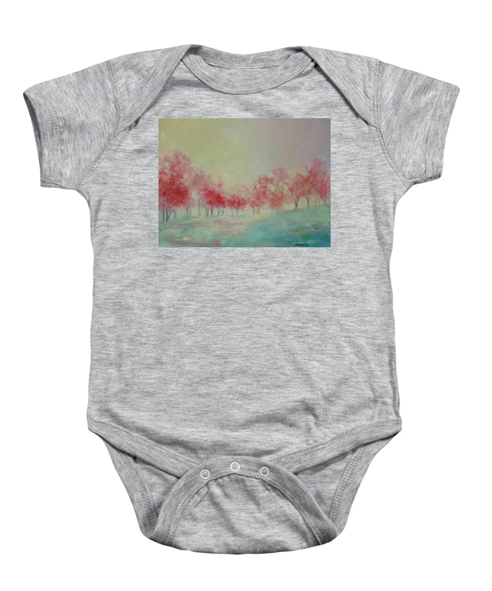 Impressionist Trees Baby Onesie featuring the painting Treeline by Ginger Concepcion