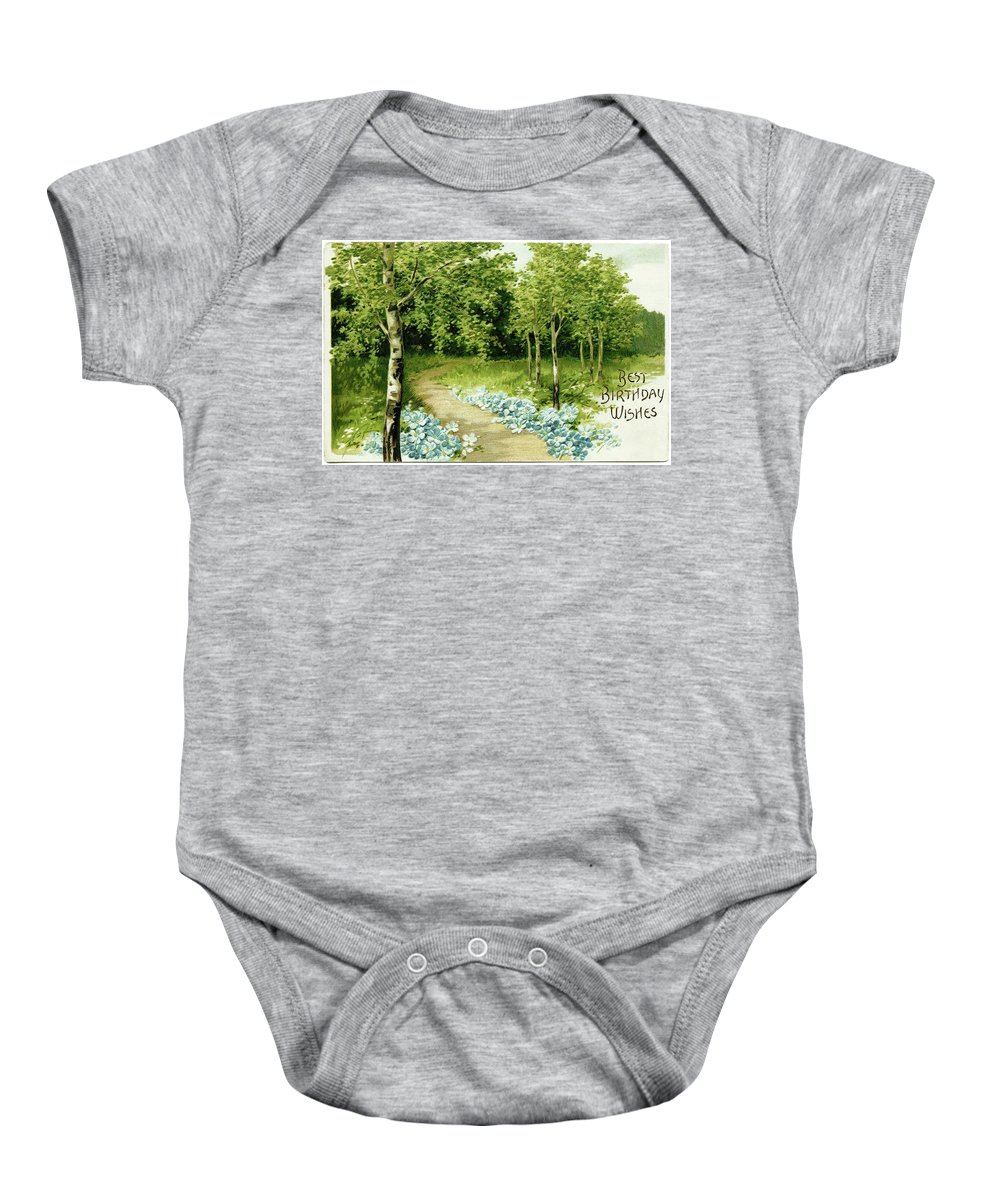 Trees And Flowers Country Scene Baby Onesie featuring the painting Trees And Flowers Country Scene by MotionAge Designs
