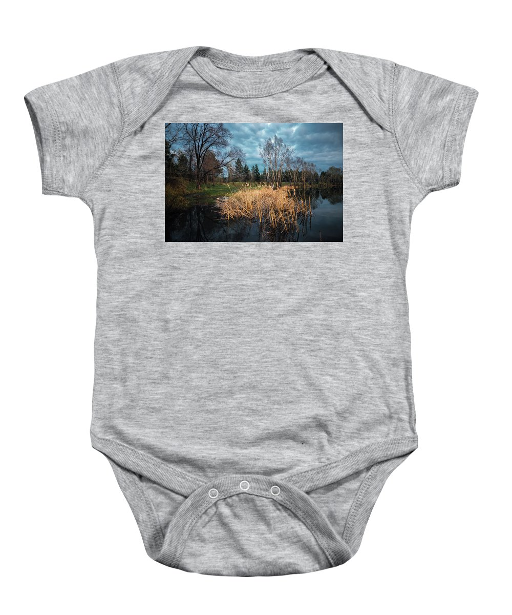 Background Baby Onesie featuring the photograph Trees In A Fog On A Background Of The River In Summer Morning by Oleg Yermolov