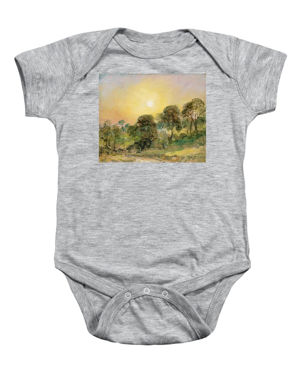 Trees Baby Onesie featuring the painting Trees On Hampstead Heath At Sunset by John Constable