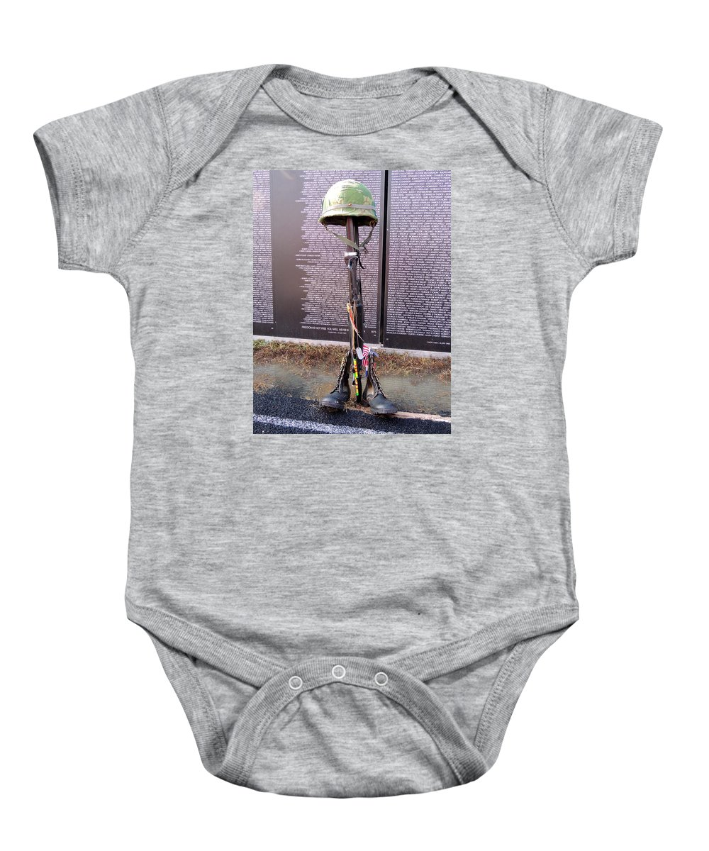 Vietnam Memorial Moving Wall. Baby Onesie featuring the photograph Tribute To Heros by Diane Hester