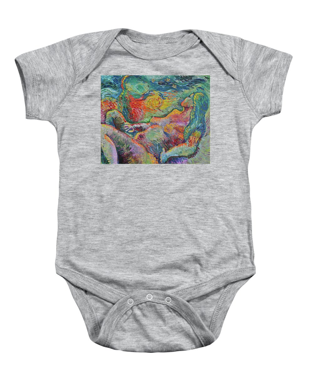 Drawing Baby Onesie featuring the painting Tribute To Van - Bathing by Gideon Cohn