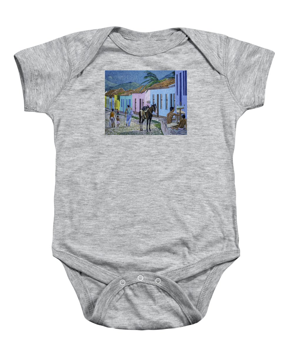 Trinidad Baby Onesie featuring the painting Trinidad Lifestyle 28x22in Oil On Canvas by Manuel Lopez