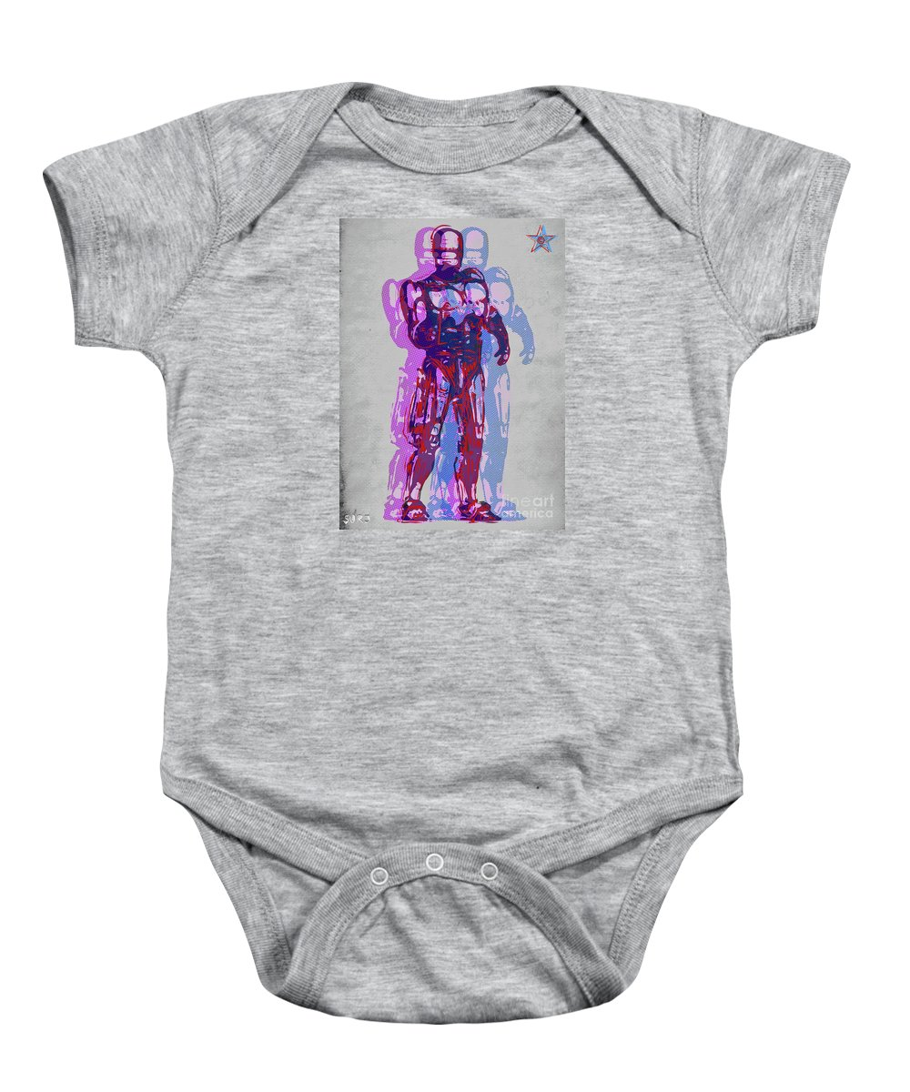 Robocop Baby Onesie featuring the mixed media Triple Robocop Rbp by Surj LA