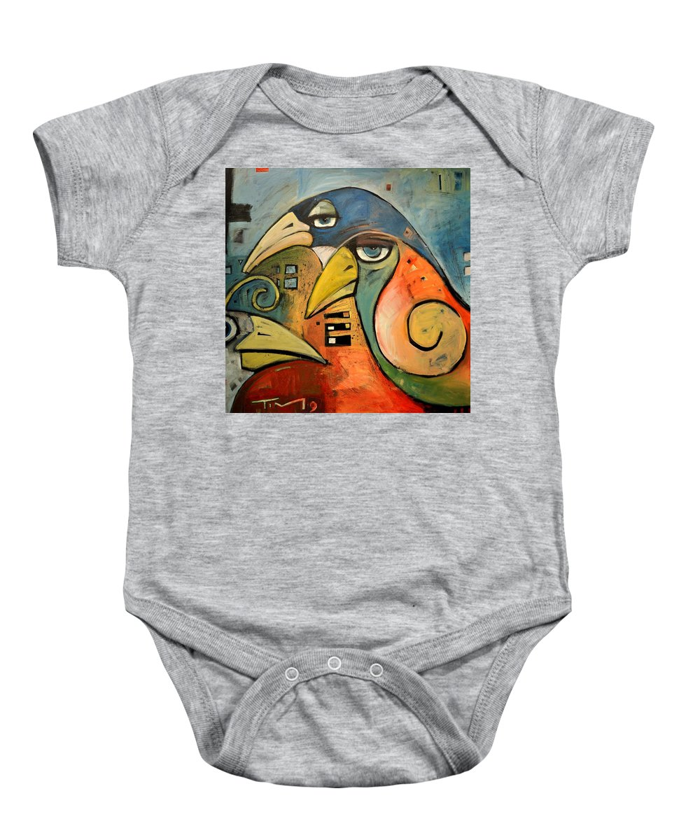 Birds Baby Onesie featuring the painting Trois Oiseaux by Tim Nyberg