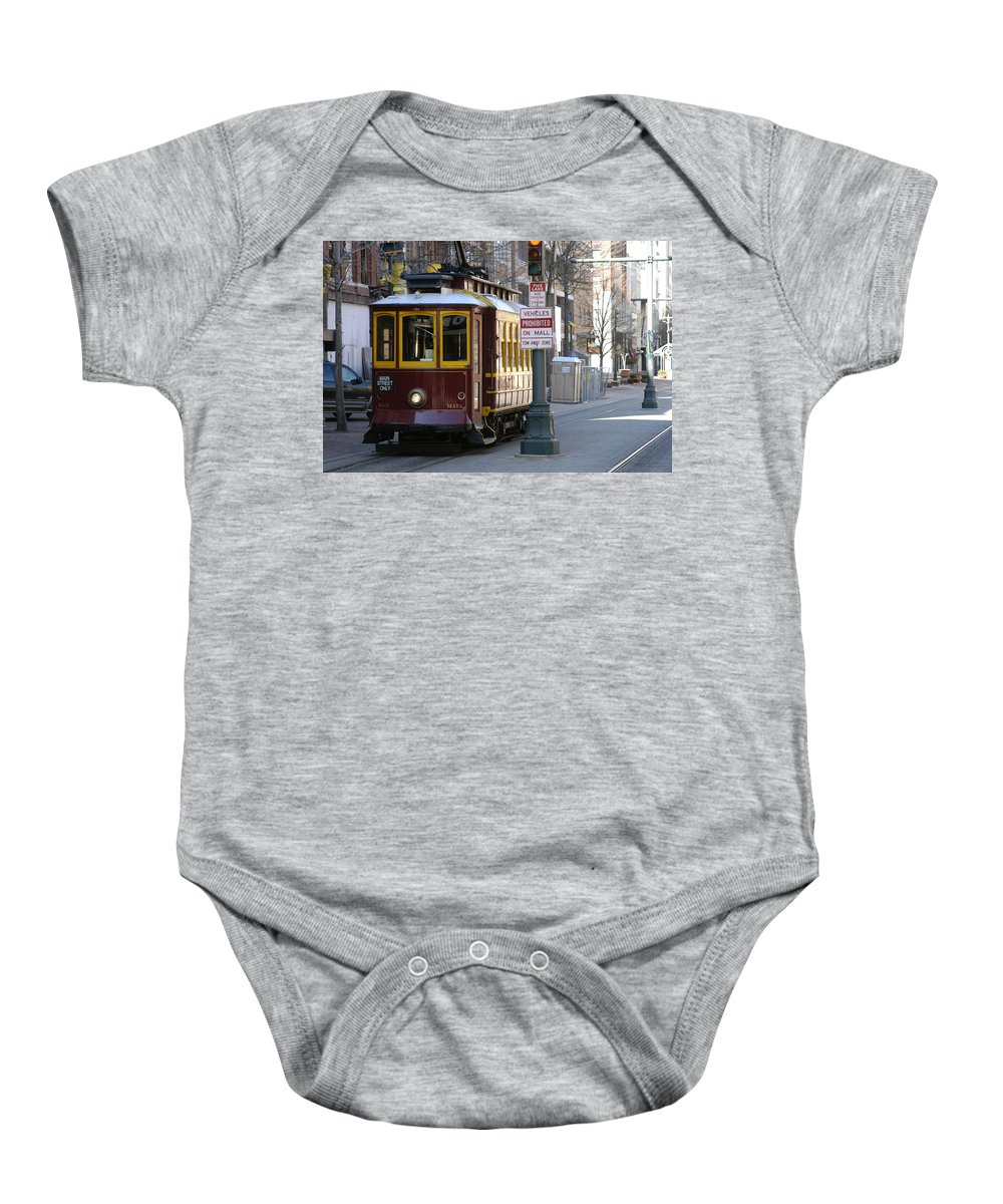 Trolley Baby Onesie featuring the photograph Trolley - Memphis by D'Arcy Evans
