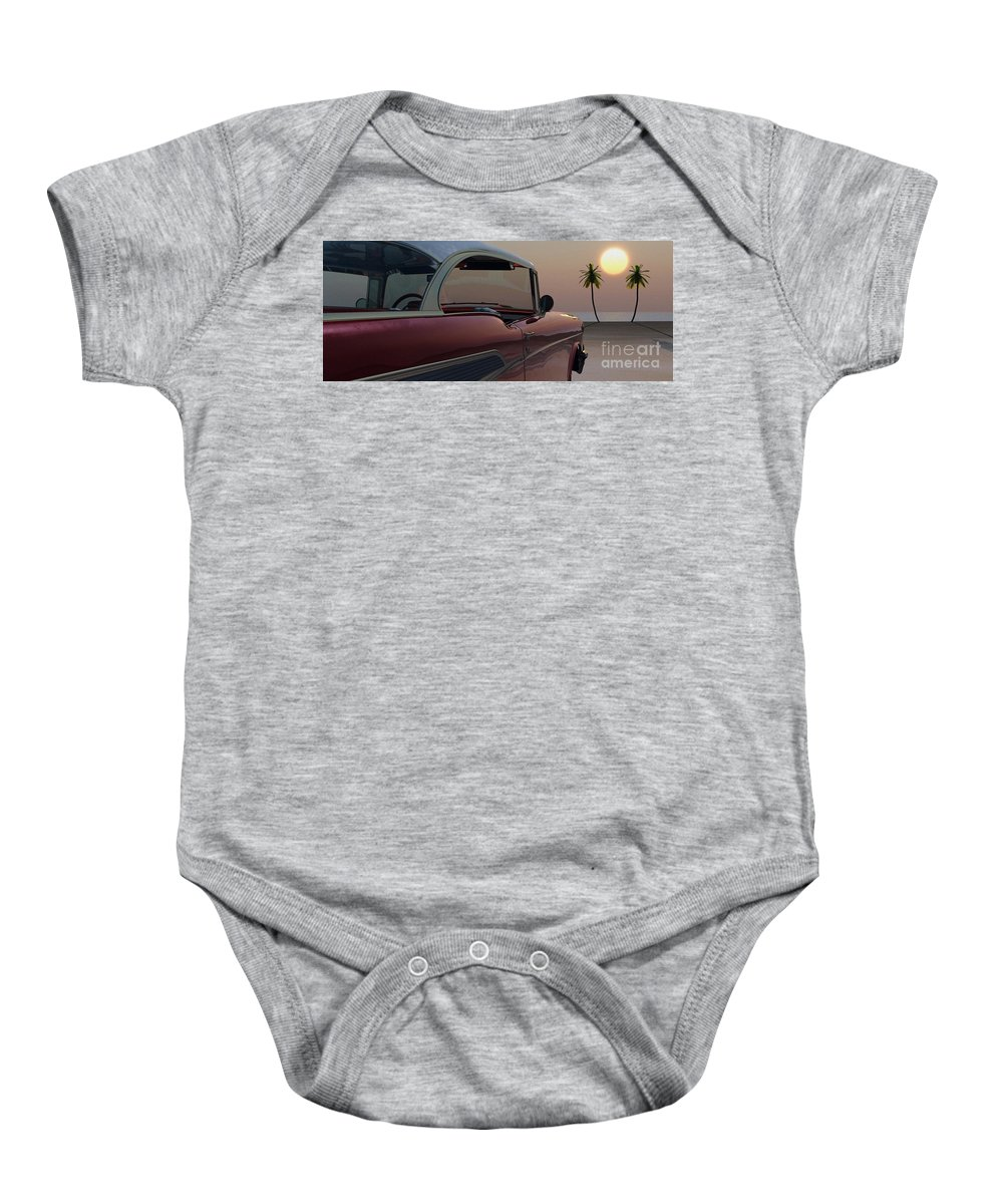 Automotive Baby Onesie featuring the digital art Tropical Delight by Richard Rizzo