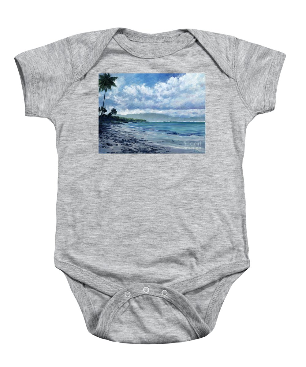 Seascape Baby Onesie featuring the painting Tropical Rain by Danielle Perry