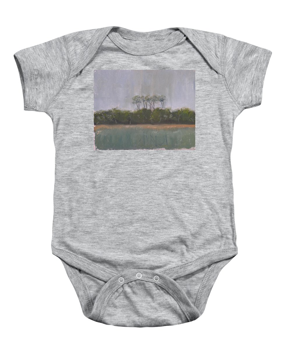 Landscape Beach Coast Tree Water Baby Onesie featuring the painting Tropical Storm by Patricia Caldwell