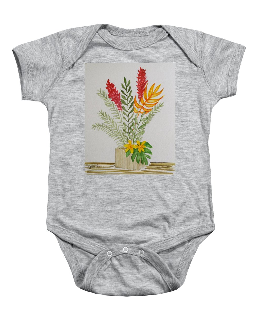 Tropical Flowers Baby Onesie featuring the painting Tropicals by Susan Nielsen